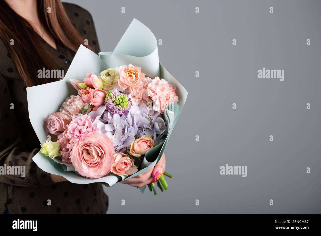 Beautiful Bouquet Of Flowers Roses Hydrangea Tulip Carnation Stock Photo Alamy