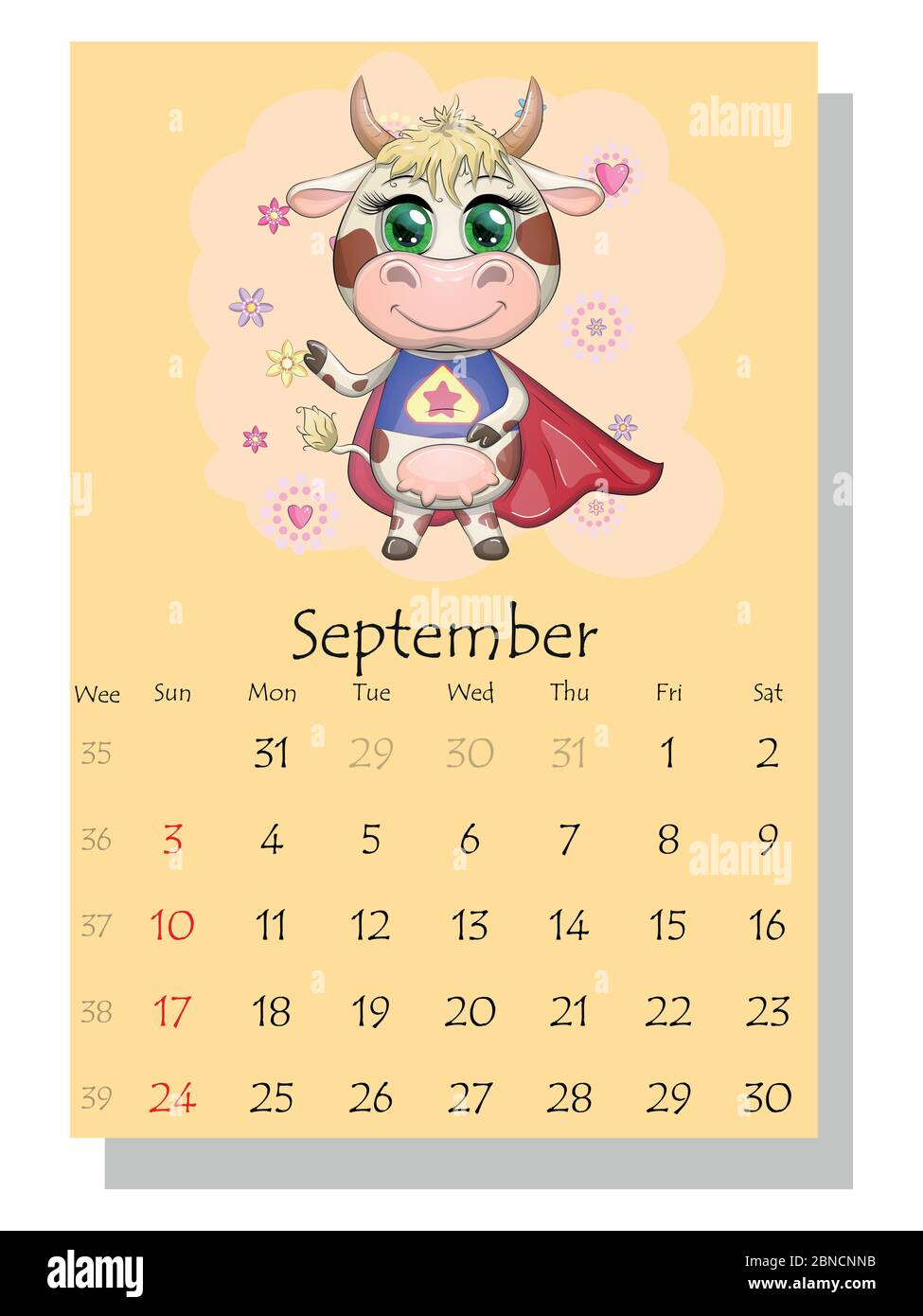 Calendar 2021. Cute bull and cow for September Stock Vector Image
