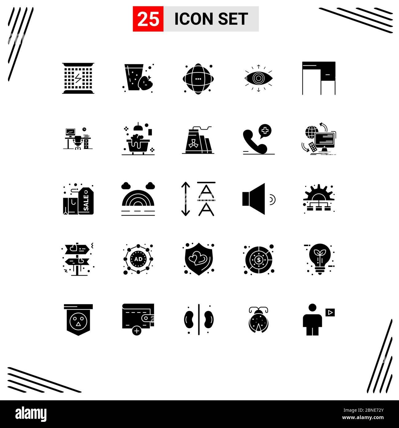 Pack Of 25 Creative Solid Glyphs Of Member Symbol Apple Eye Network Editable Vector Design Elements Stock Vector Image Art Alamy