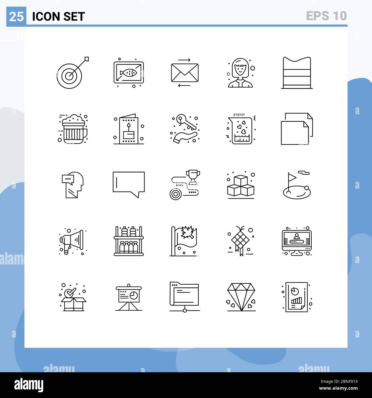 Universal Icon Symbols Group Of 25 Modern Lines Of Fashion Clothing Cook Student Avatar Editable Vector Design Elements Stock Vector Image Art Alamy