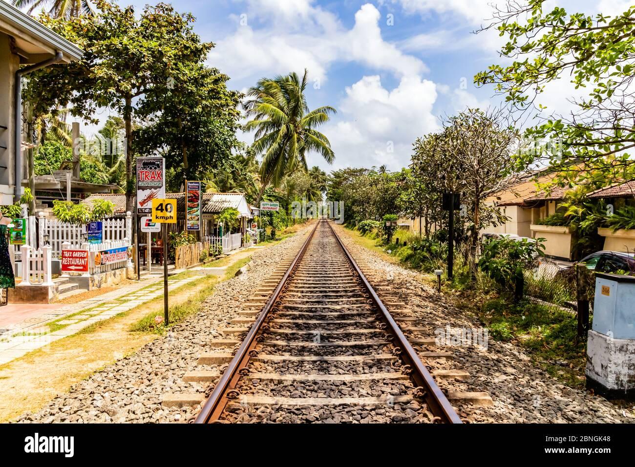 Eisenbahnschienen in Bentota auf Sri Lanka Stock Photo
