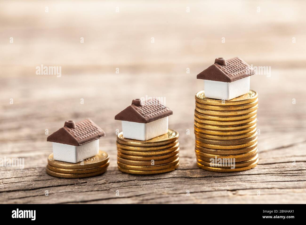 Steps With Coins And Houses Real Estate Market Growth Stock Photo Alamy