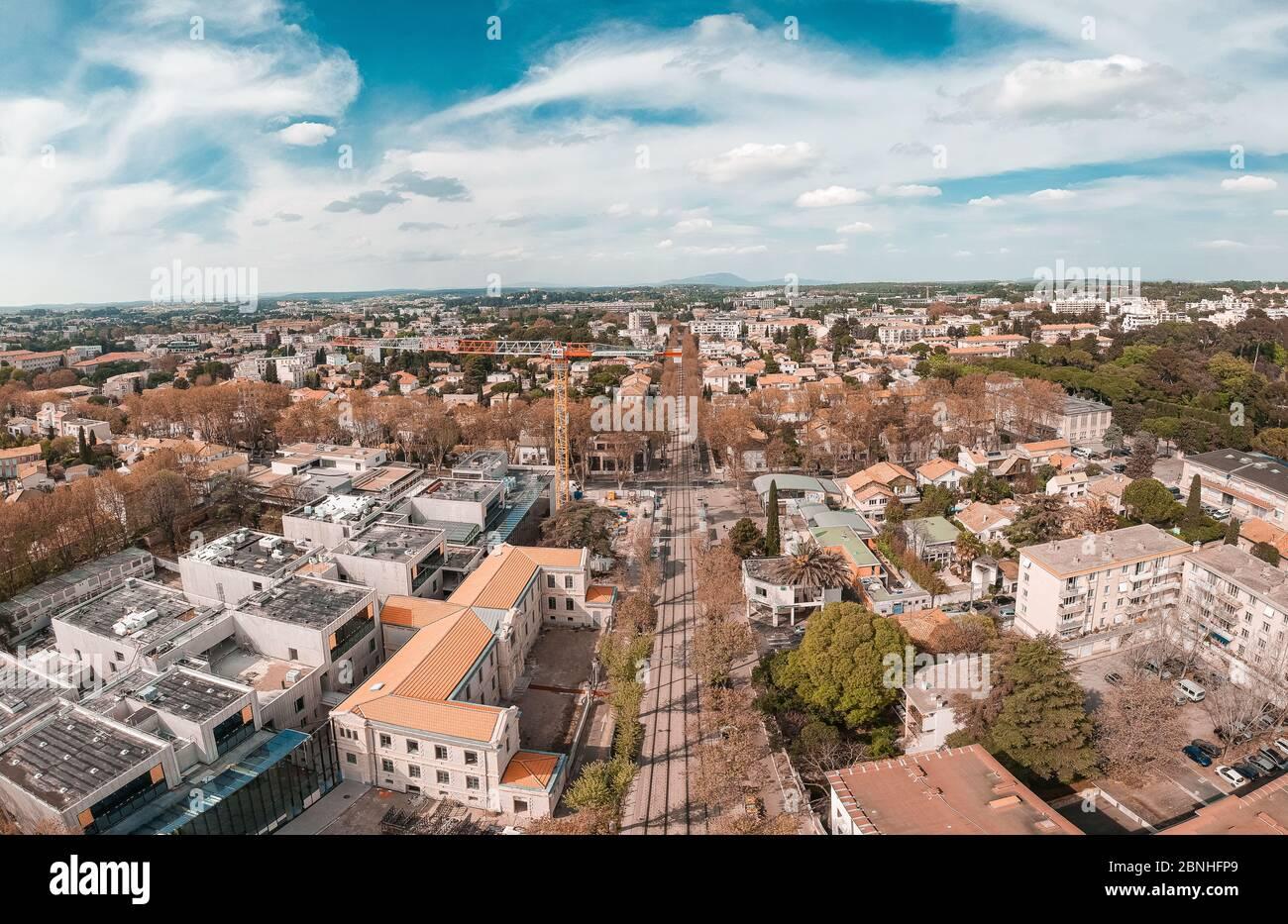 PAnorama in Montpellier, Vue aérienne de Montpellier Stock Photo