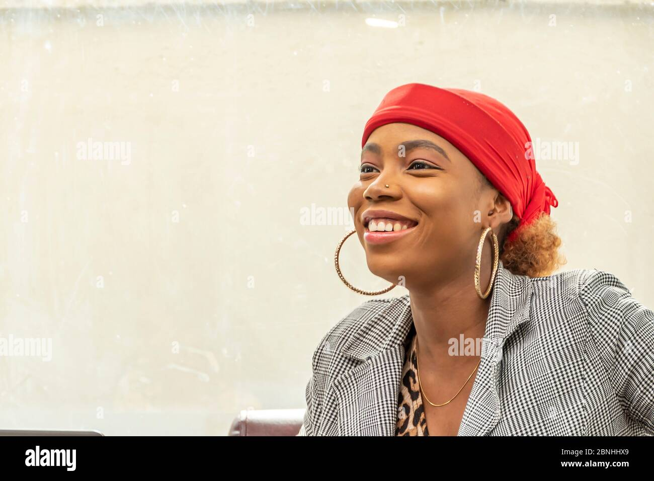 beautiful young african muslim business woman smiling Stock Photo