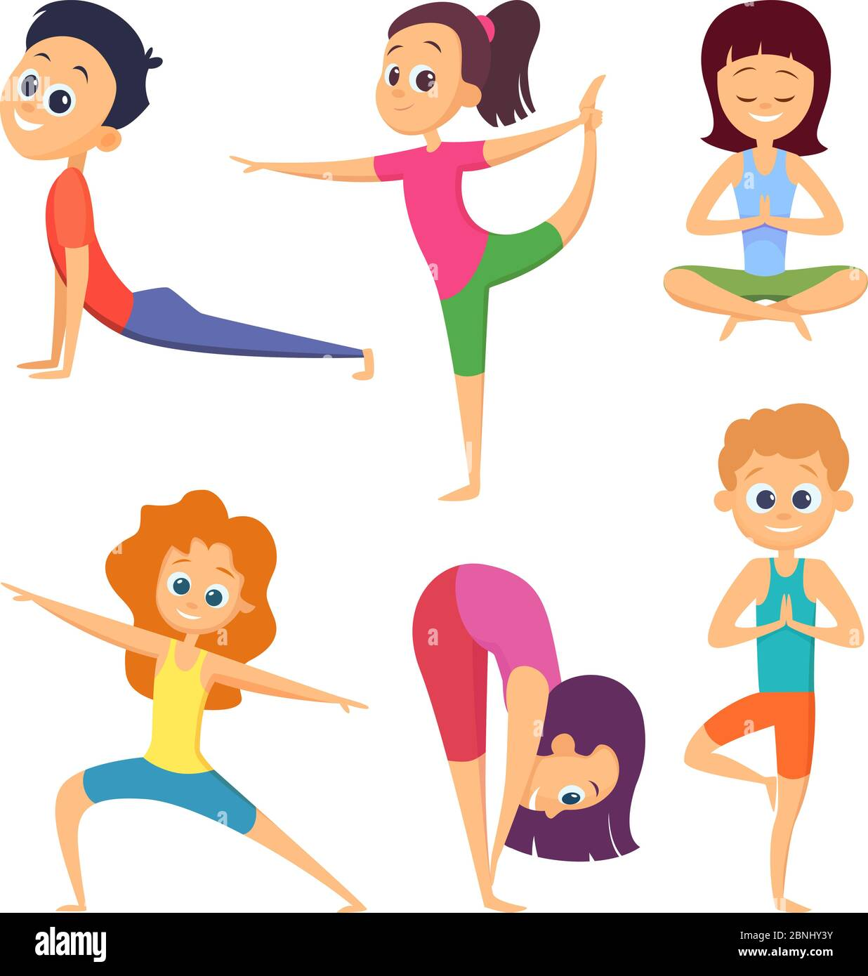 Yoga For Kids Happy Childrens Make Different Exercises Cartoon Characters Set Stock Vector Image Art Alamy