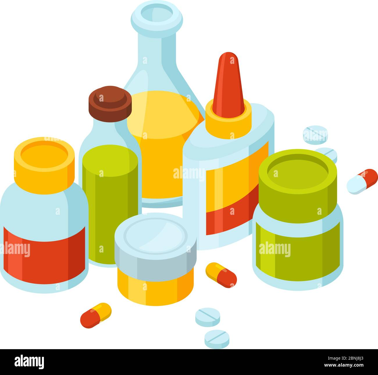different bottles with pills and drugs vector illustration of medicine theme stock vector image art alamy https www alamy com different bottles with pills and drugs vector illustration of medicine theme image357517051 html
