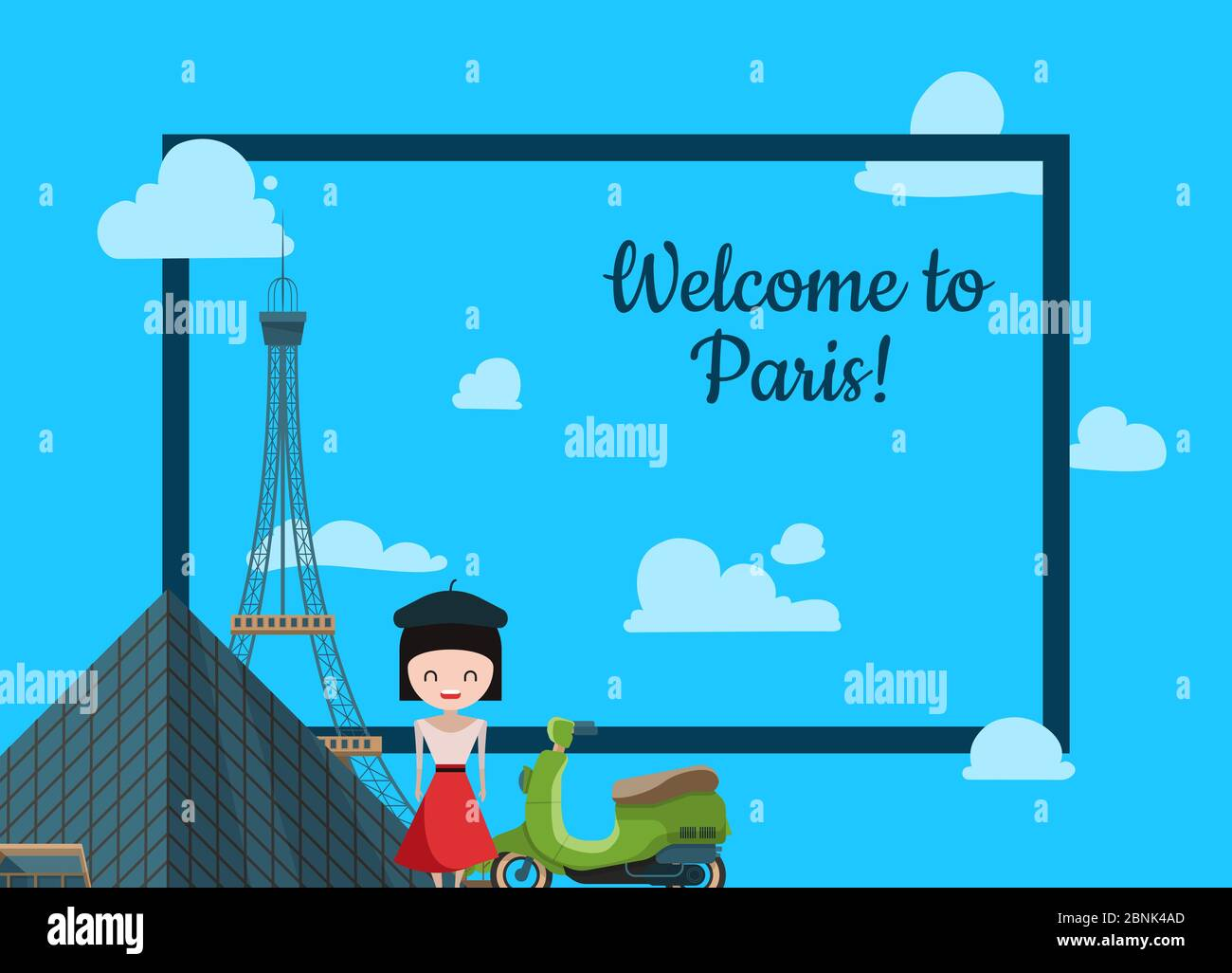 Paris Background Vector Cartoon France Sights Illustration Stock Vector Image Art Alamy