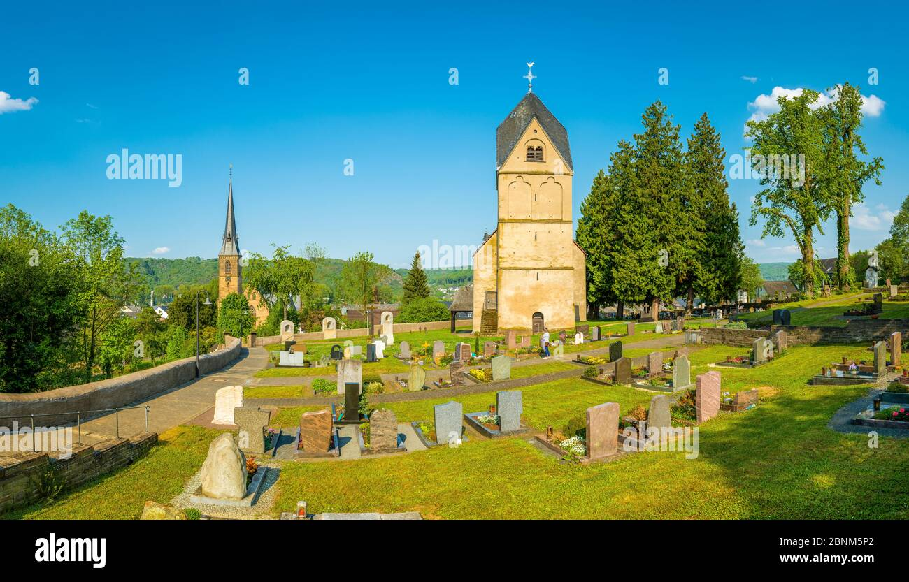 Catholic Church of St. Dionysius in Rhens, on the Middle Rhine, in the background the newer Church of St. Theresia, Unesco World Heritage Upper Middle Rhine Valley Stock Photo