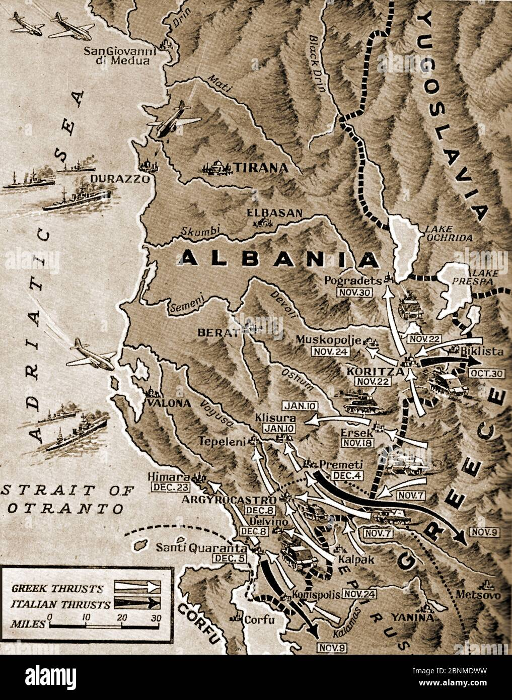 WWII -  A pictorial map from 1941 showing events in the Albanian Campaign 1940-1941. Stock Photo