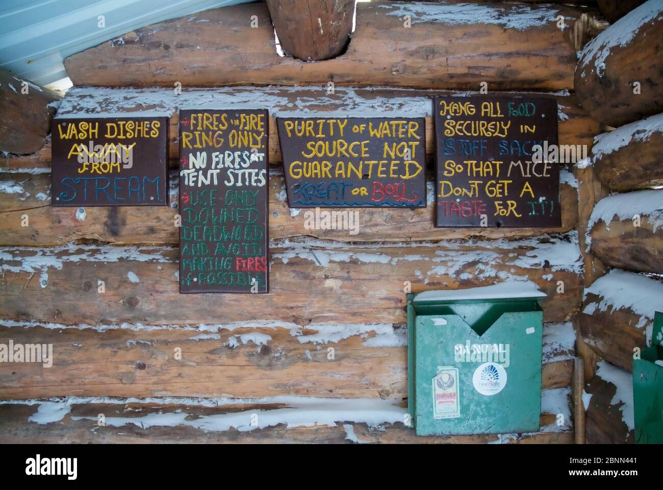 Signs at Beaver Brook Shelter in the White Mountain National Forest of New Hampshire. This Adirondack-style shelter is located along the Beaver Brook Stock Photo