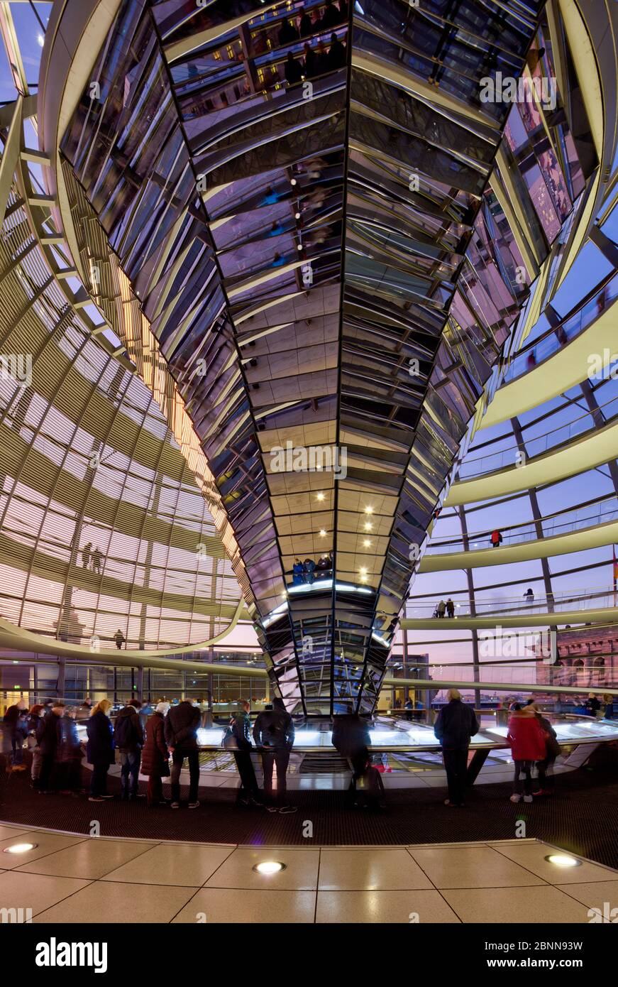 Reichstag building, dome, inside, visitor, Bundestag, government district, Berlin, Germany Stock Photo