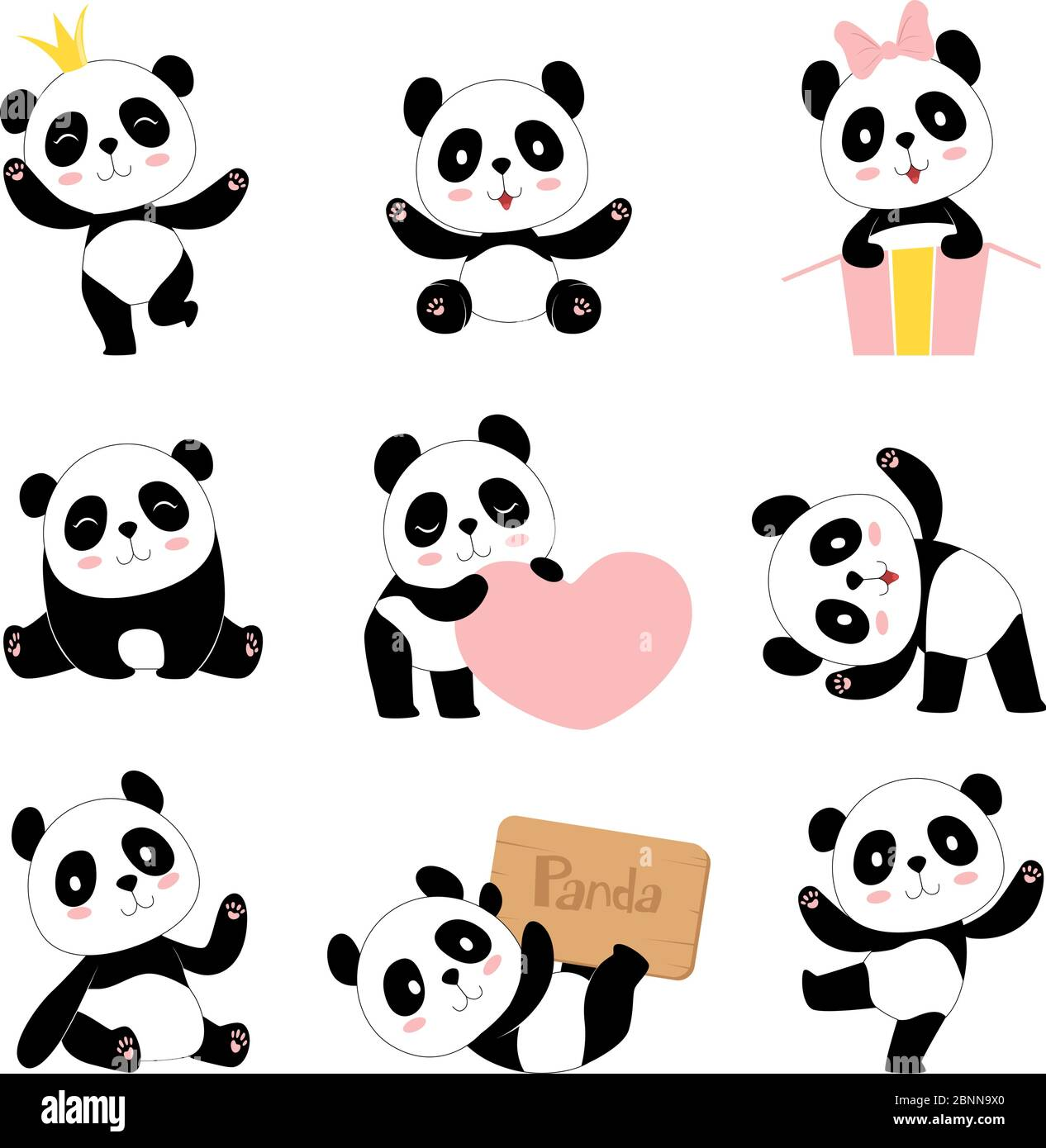 Cute Baby Pandas Toy Animals Chinese Symbols Panda Bear Adorable Funny Baby Mascot Vector Characters Collection In Cartoon Style Stock Vector Image Art Alamy