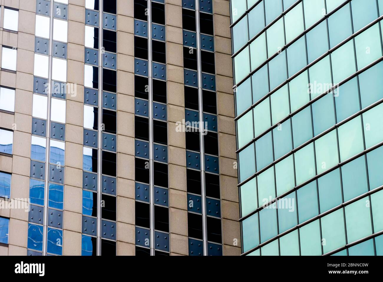 Upward view of chicago skyscrapers and tall office buildings.  Showcasing various architectural styles. Illinois usa. Stock Photo