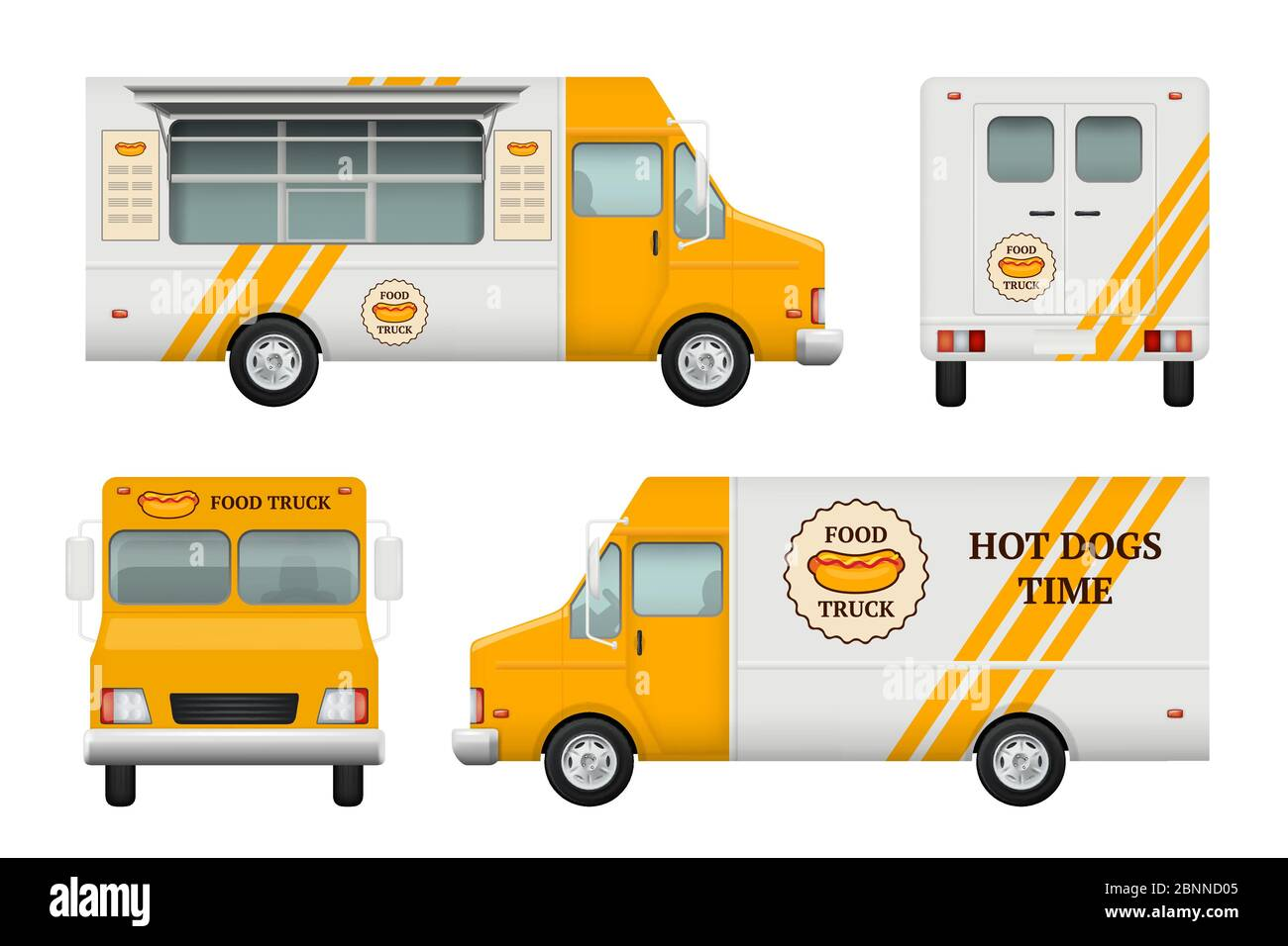 Mobile restaurant identity. Business tools of corporate style for fast catering kitchen and fast food truck vector logo blank templates Stock Vector