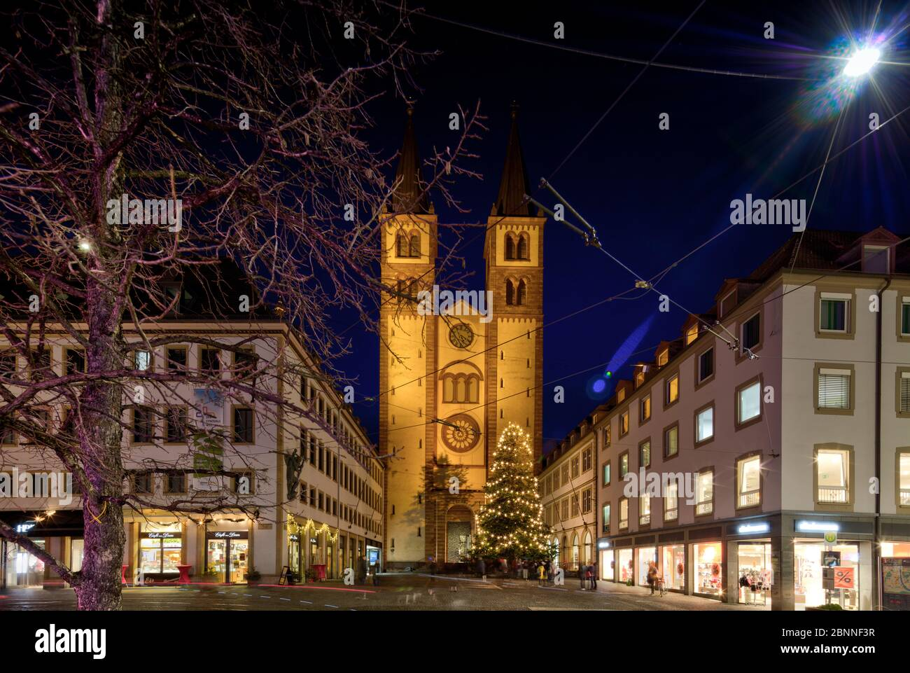 Domstrasse, St. Kilian cathedral, blue hour, old town, Christmas market, Wuerzburg, Franconia, Bavaria, Germany, Stock Photo