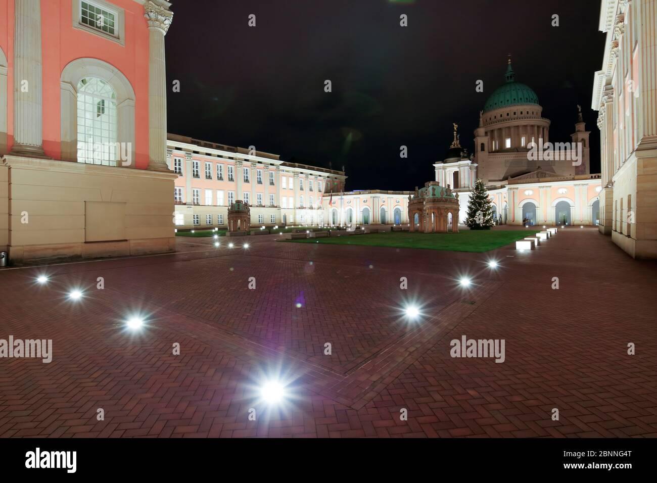 City Palace, State Government, Inner Court, Blue Hour, Nikolaikirche, Potsdam, Brandenburg, Germany, Europe Stock Photo