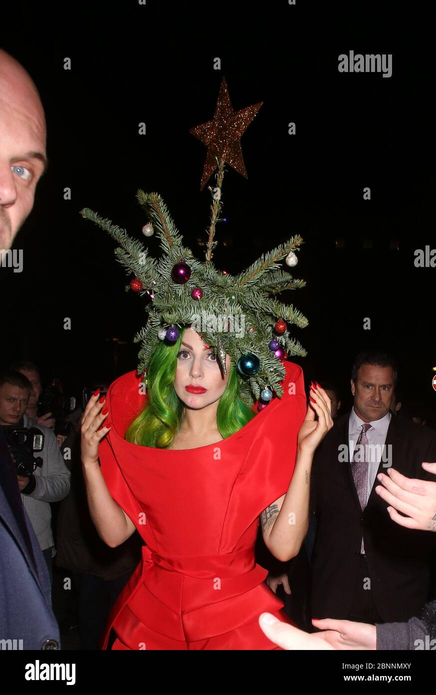 Lady Gaga At The Langham Hotel London Wearing A Christmas Tree On Her Head Stock Photo Alamy