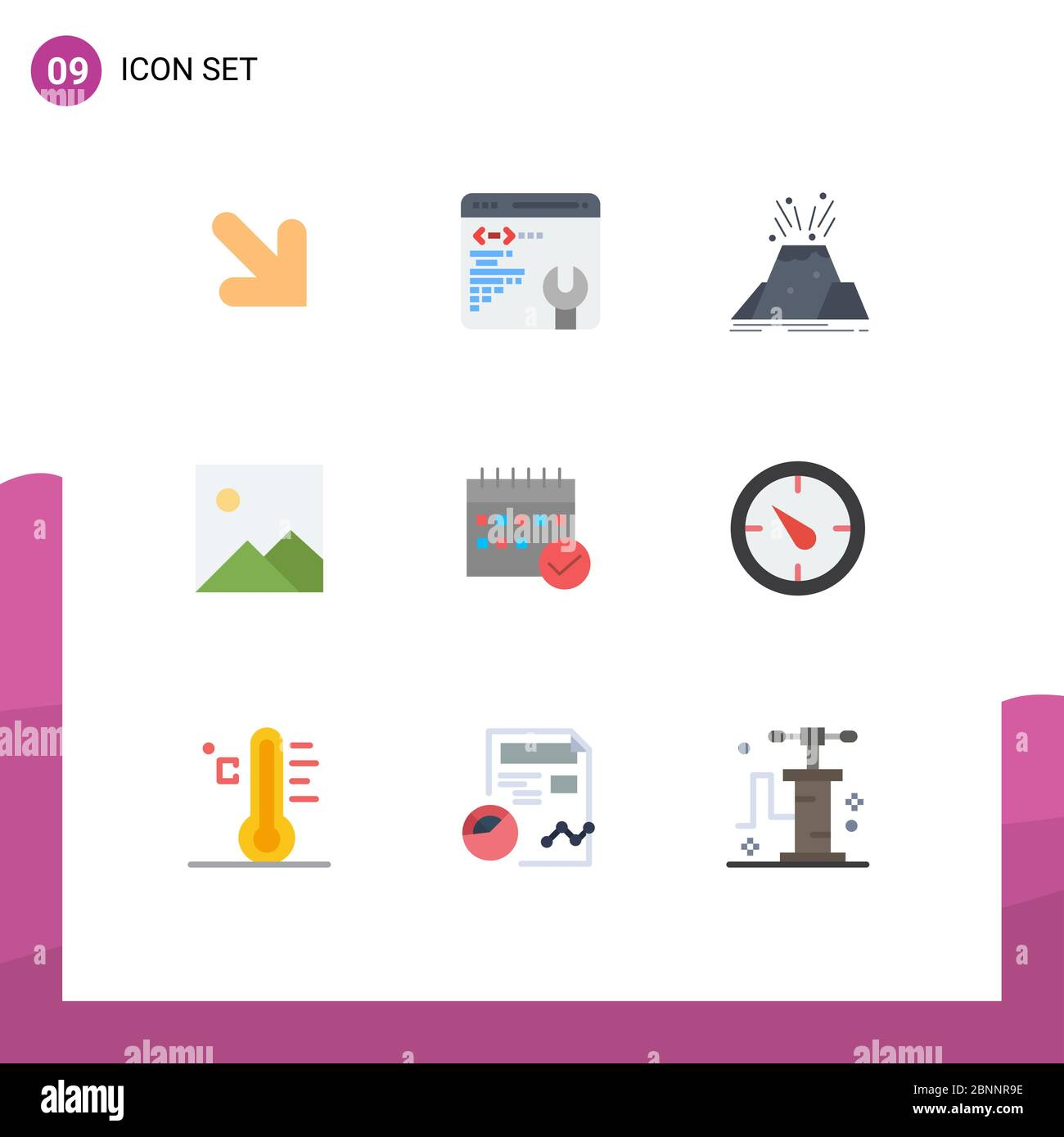 9 Creative Icons Modern Signs and Symbols of calendar, approved, volcano, schedule, image Editable Vector Design Elements Stock Vector