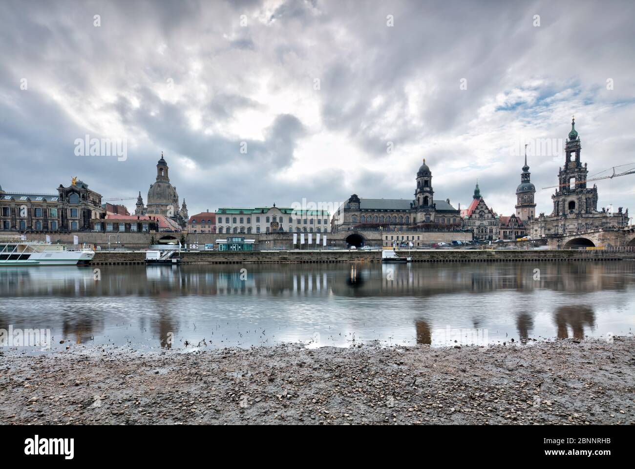 Elbe panorama, Frauenkirche, Brühlsche Terrasse, Zwinger, Hofkirche, Augustusbrücke, Dresden, Saxony, Germany, Europe, Stock Photo