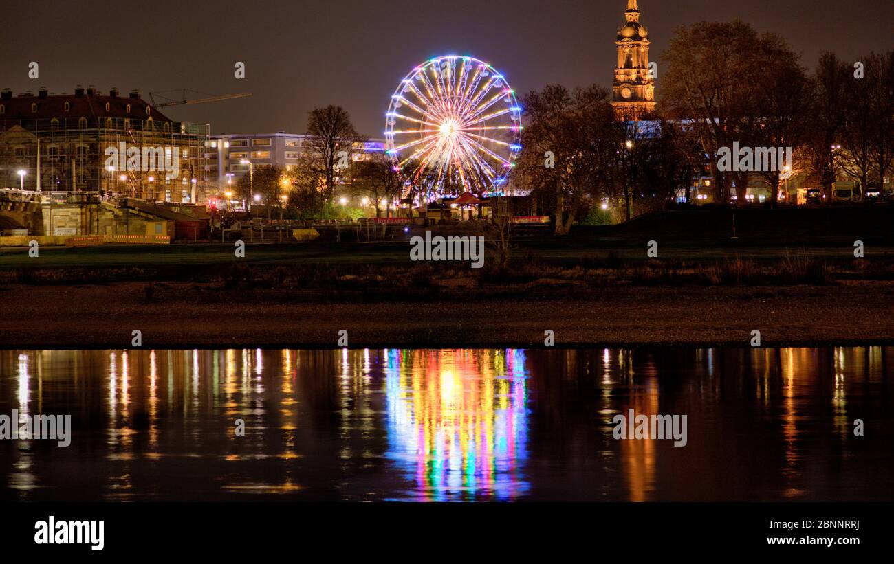Elbe, Neustadt, ferris wheel, blue hour, Dresden, Saxony, Germany, Europe, Stock Photo