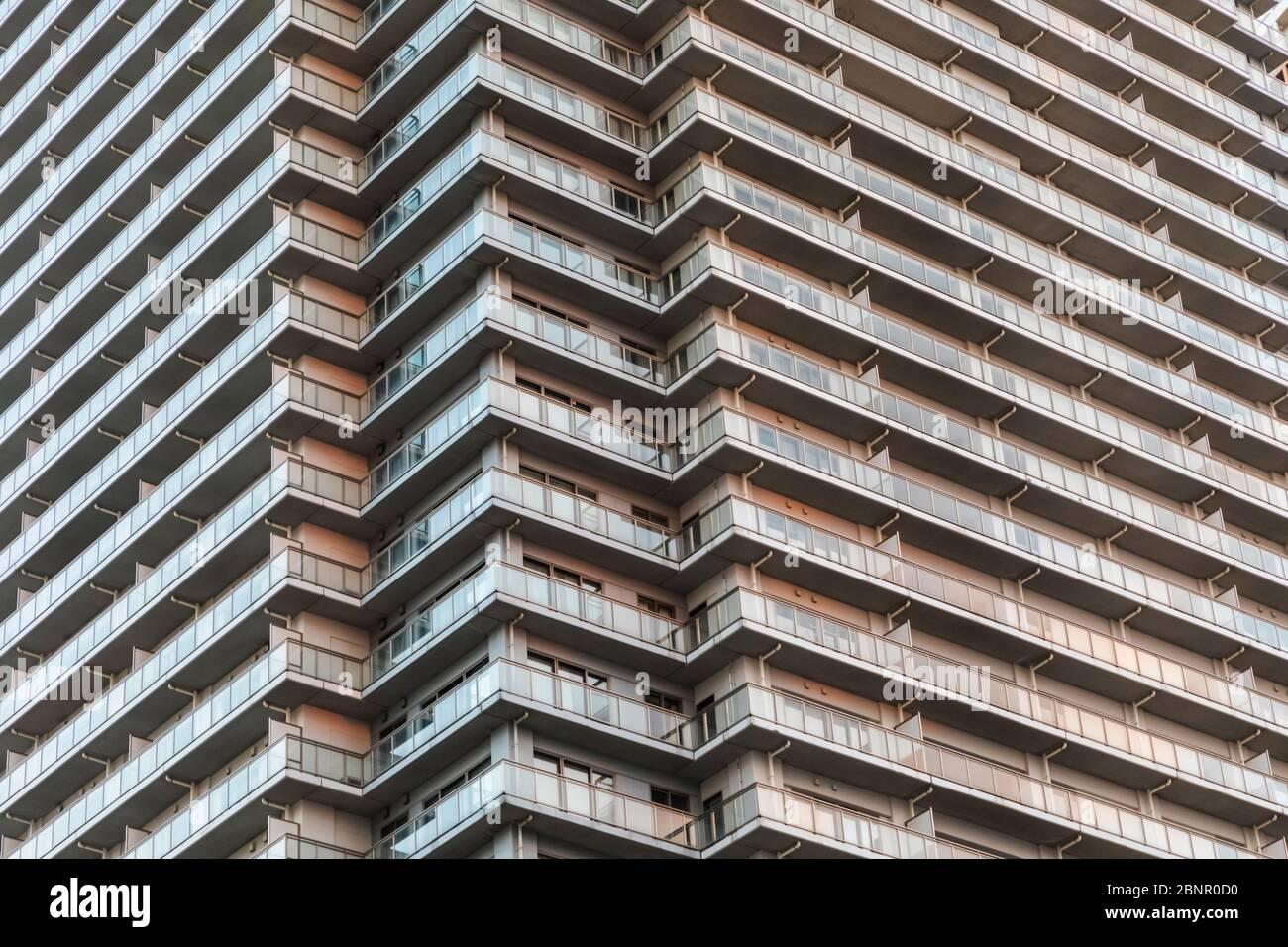 Japan, Honshu, Tokyo, Toyosu, Shinonome Waterfront High-rise Apartments Blocks Stock Photo