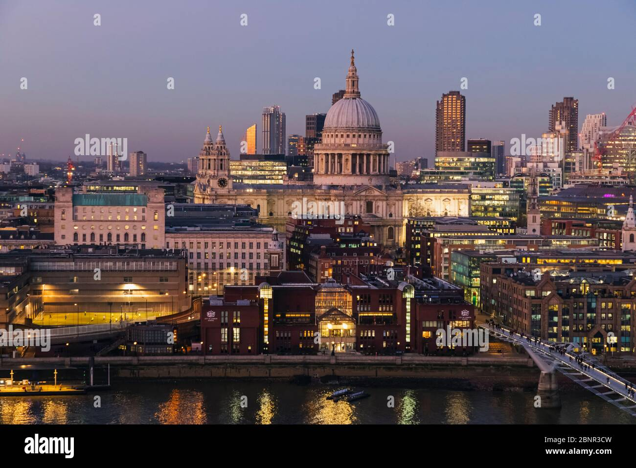 England, London, City of London, St Paul's Cathedral with Millenium Bridge and City of London Skyline Stock Photo