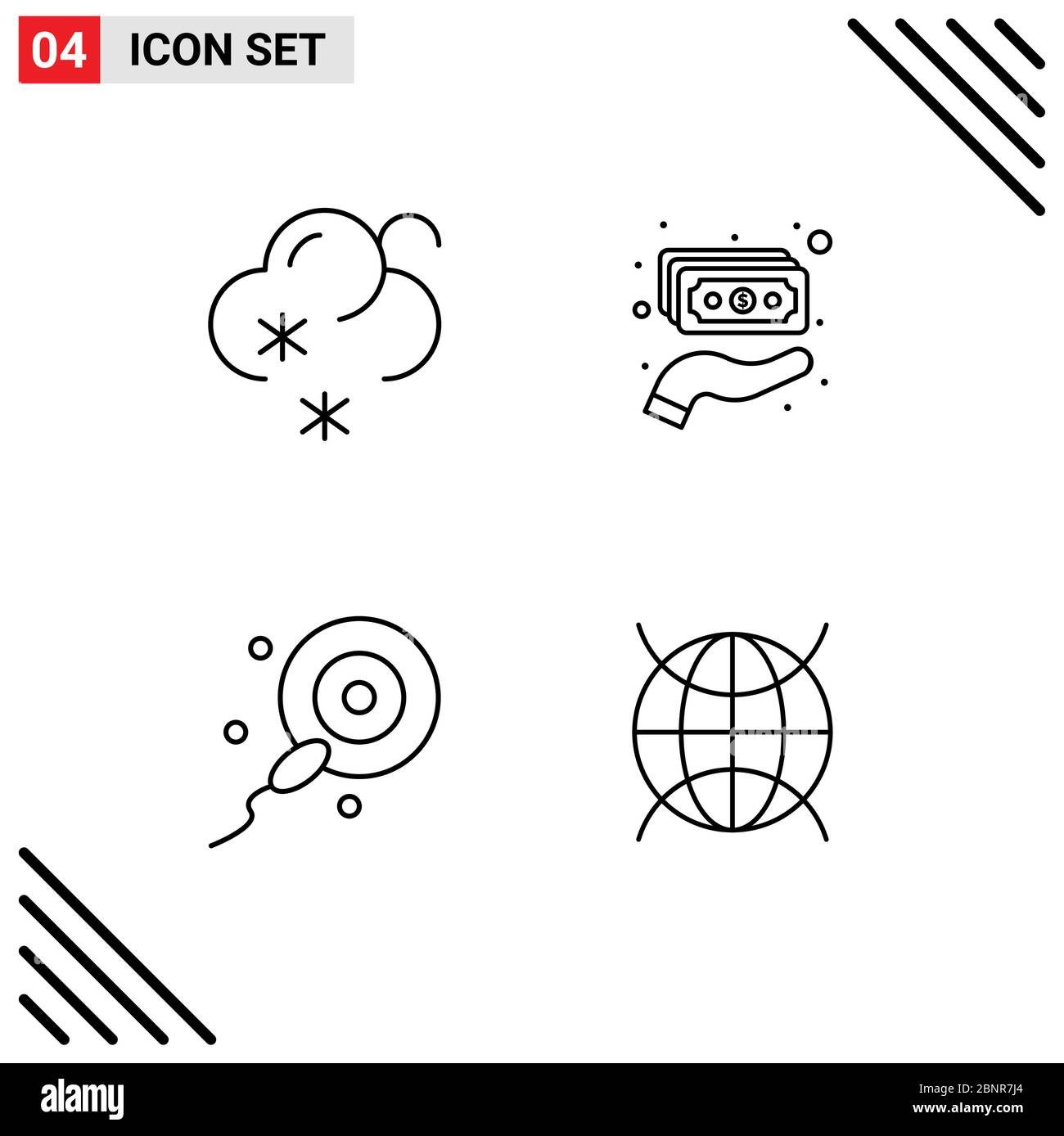 4 Line concept for Websites Mobile and Apps forecast, bio, cash, money, internet of things Editable Vector Design Elements Stock Vector