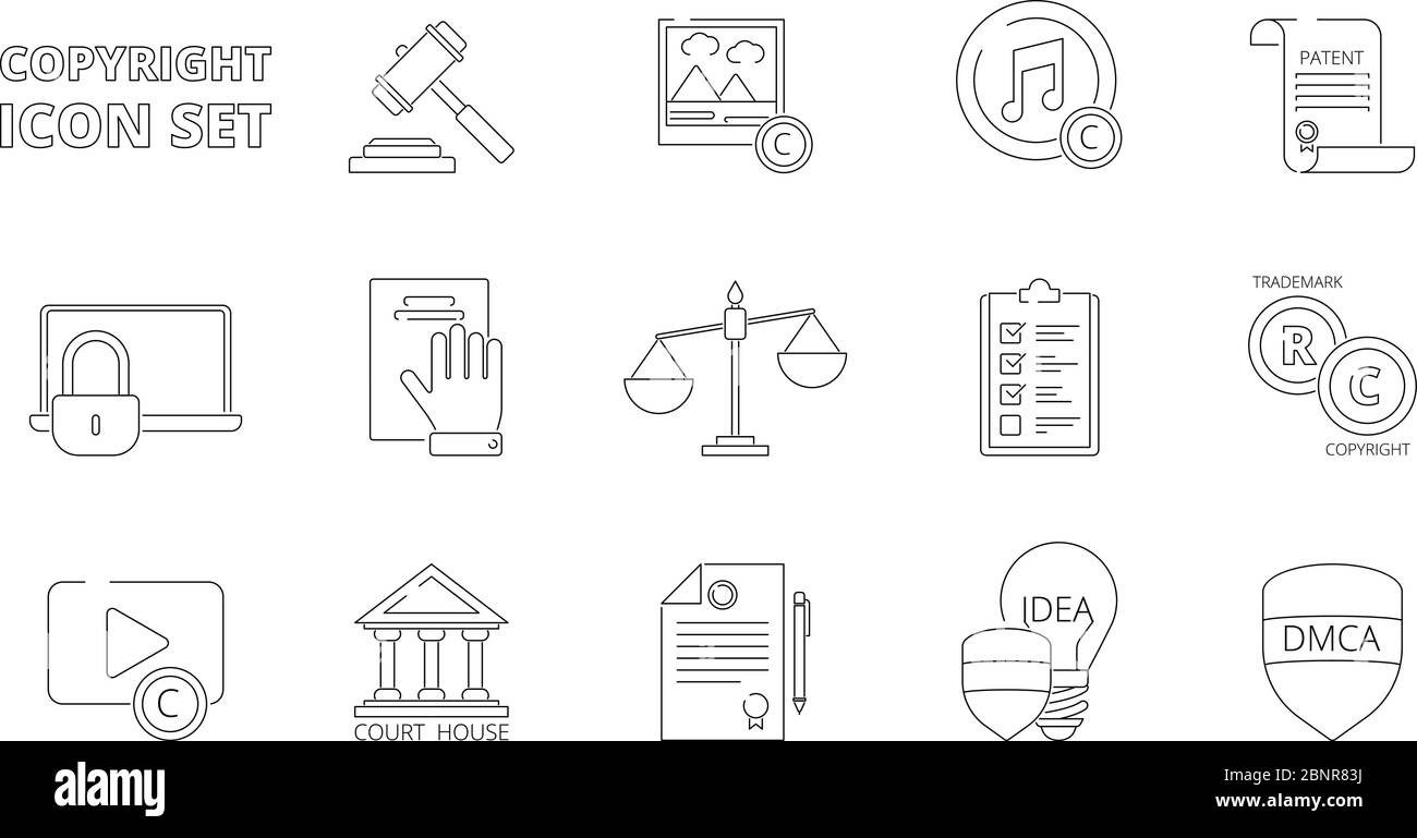Intellectual property icons. Copyright legal policy regulations independence individuality rights patent ownership vector line icons Stock Vector