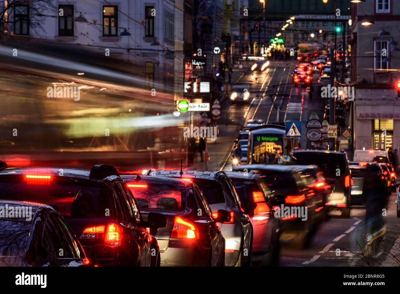 Vienna, tram, cars, heavy traffic, rush hour, Währinger Straße, 09. Alsergrund, Austria Stock Photo