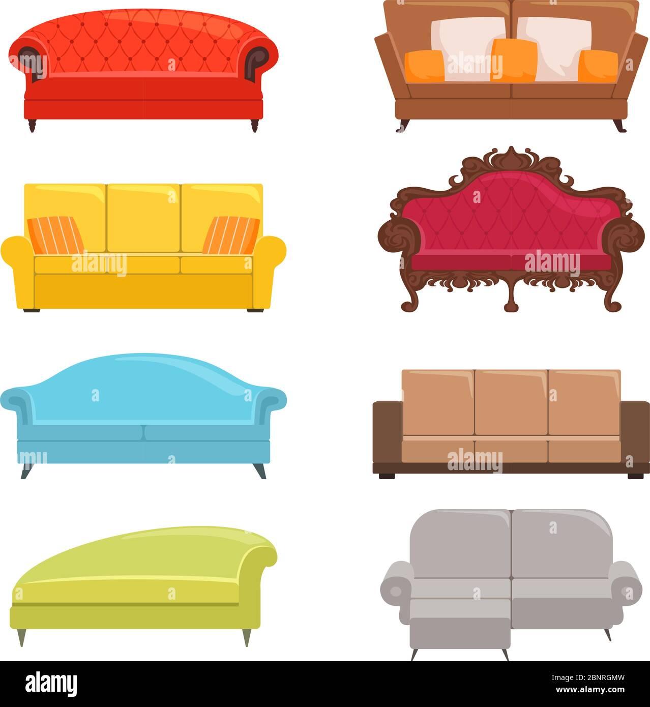 Sofa collection. Bed classic divan modern coach vector interior