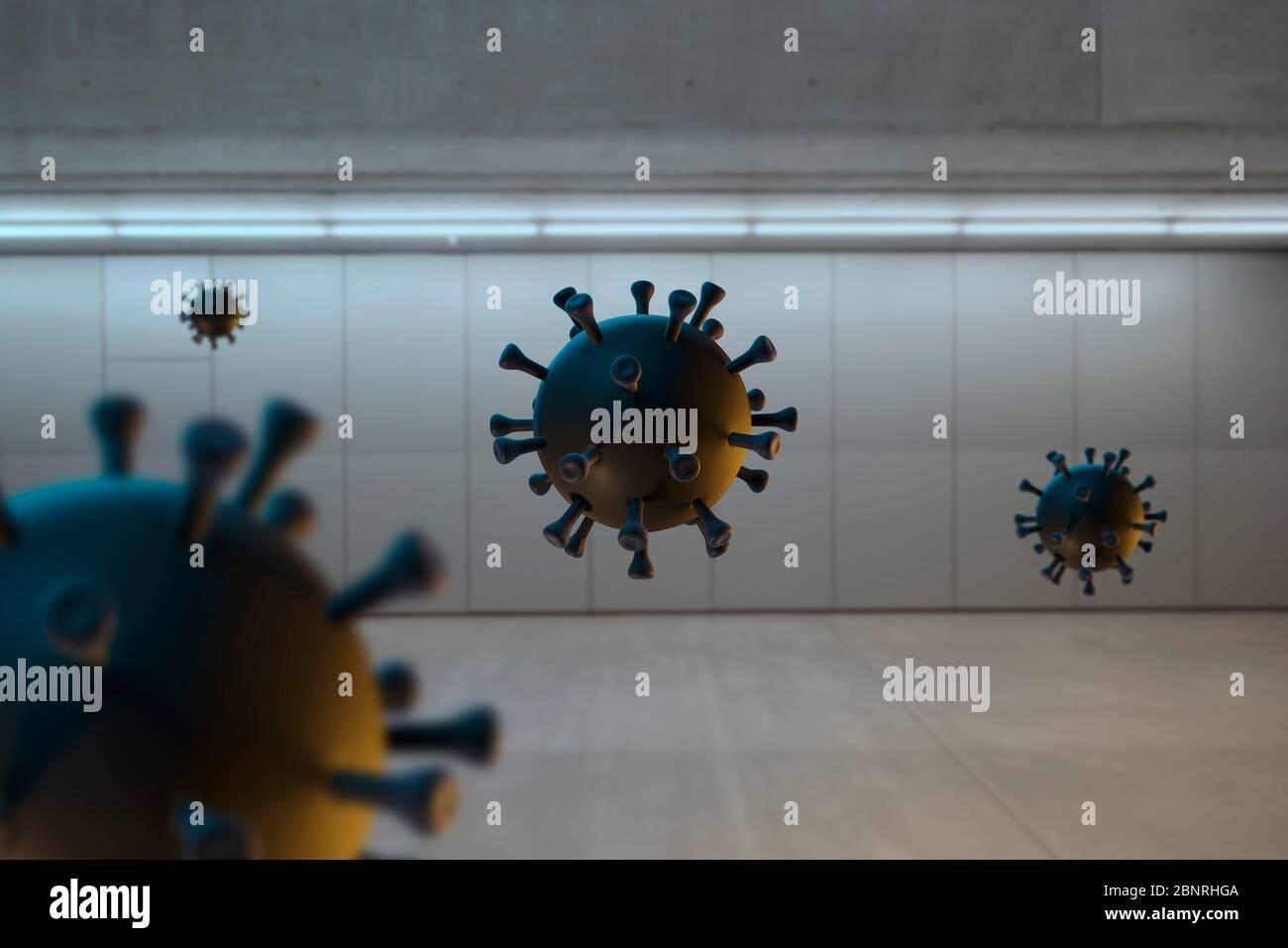Corona viruses against a dark architectural background Stock Photo
