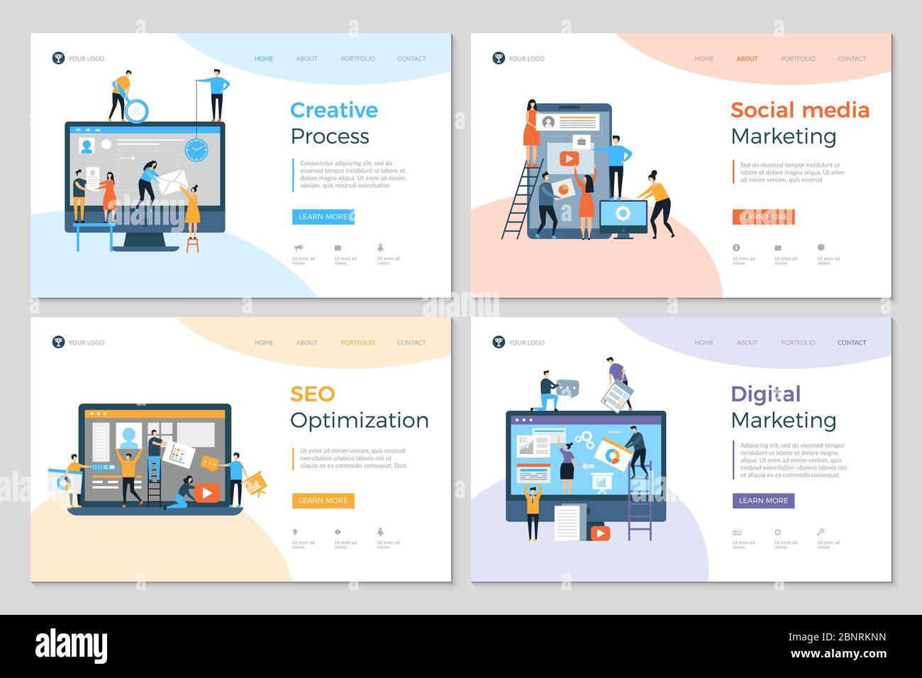 Landing Pages Design Business Creative Website Construction Advertizing Agency Mobile Pc Development Designing Layout Vector Template Stock Vector Image Art Alamy