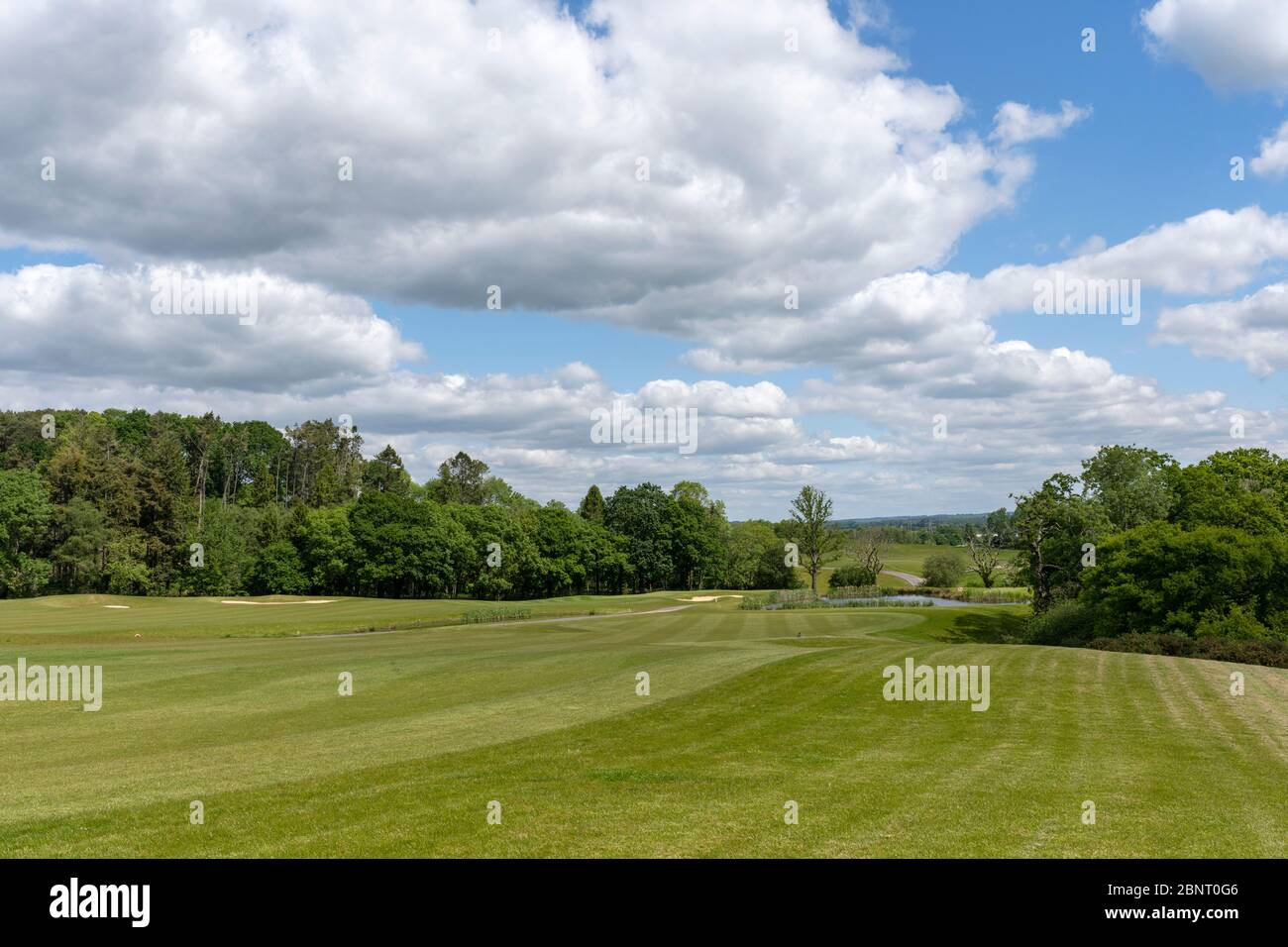 View of fairway and Hampshire landscape in the background at Boundary Lakes Golf Course, The Ageas Bowl, Botley Road, West End, Hampshire, England, UK Stock Photo