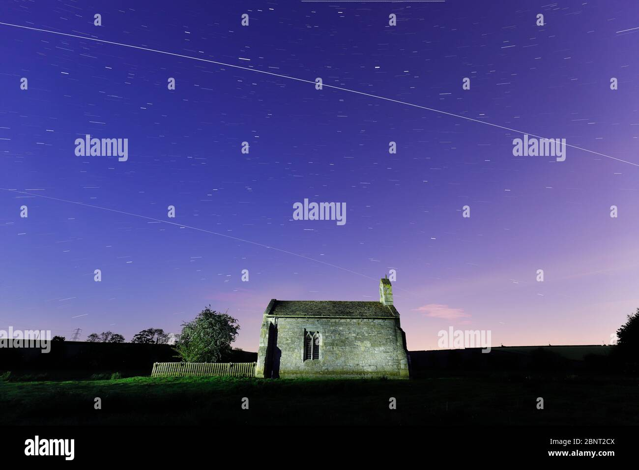 St Mary's Chapel near Tadcaster with 2 passes from the International Space Station Stock Photo