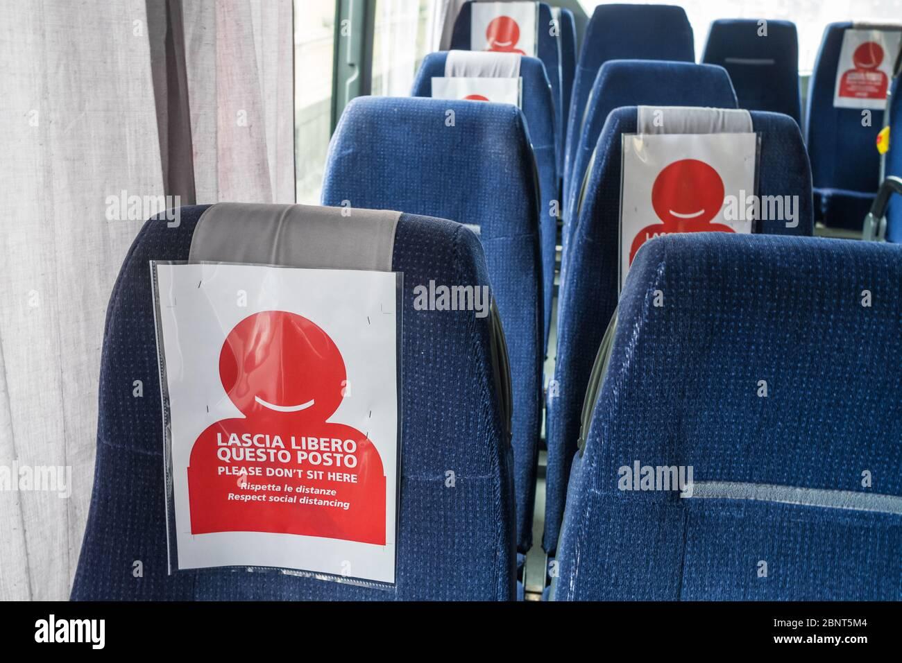 COVID-19 Public transport bus during the coronavirus pandemic. Stock Photo