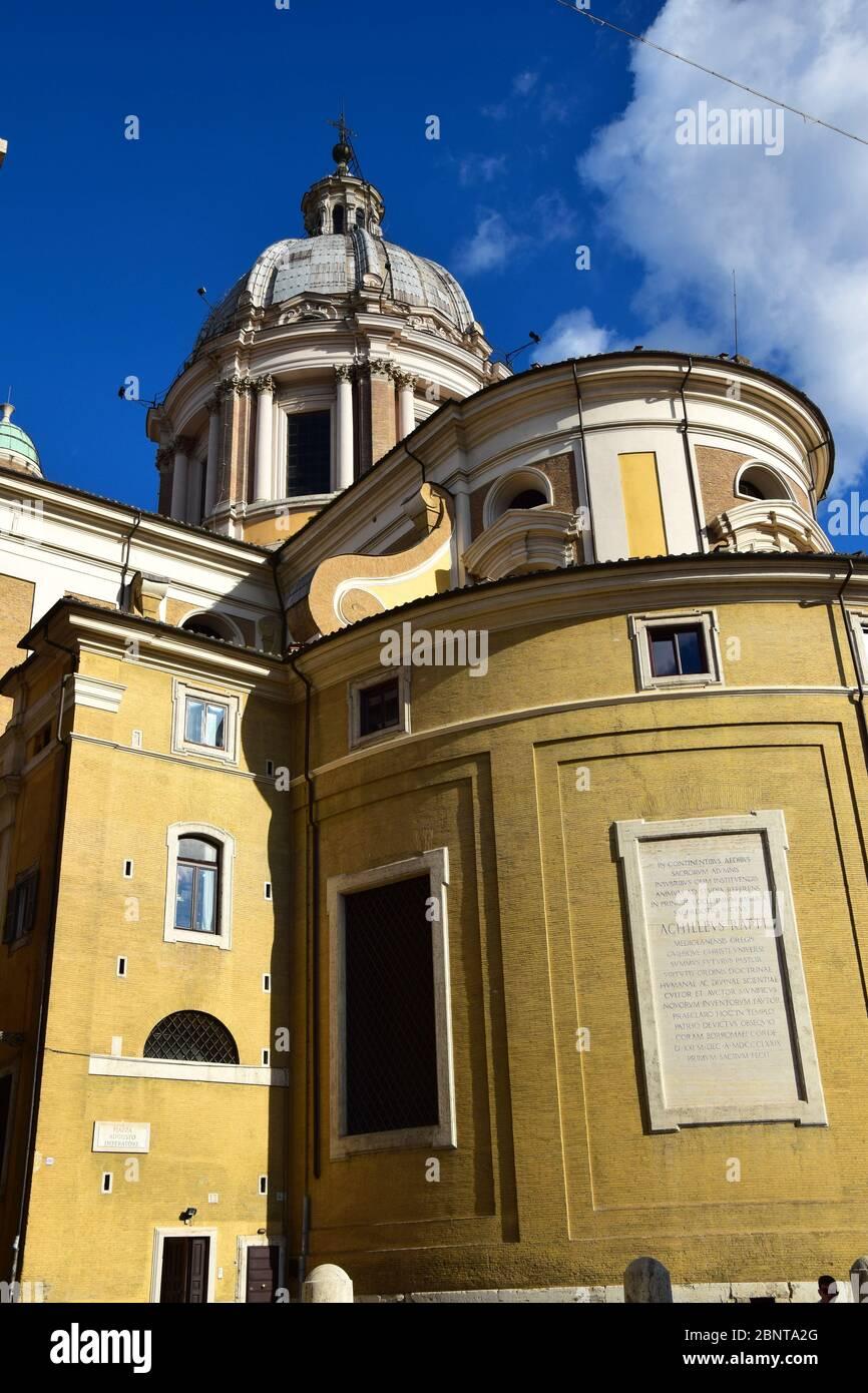 Basilica dei Santi Ambrogio e Carlo al Corso - Basilica of Saint Ambrose and Charles on the Corso in the city of Rome, Italy Stock Photo