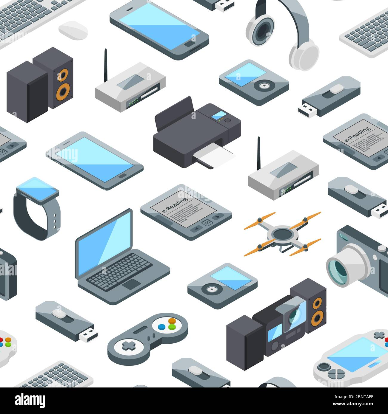 Vector isometric gadgets icons pattern or background illustration Stock Vector