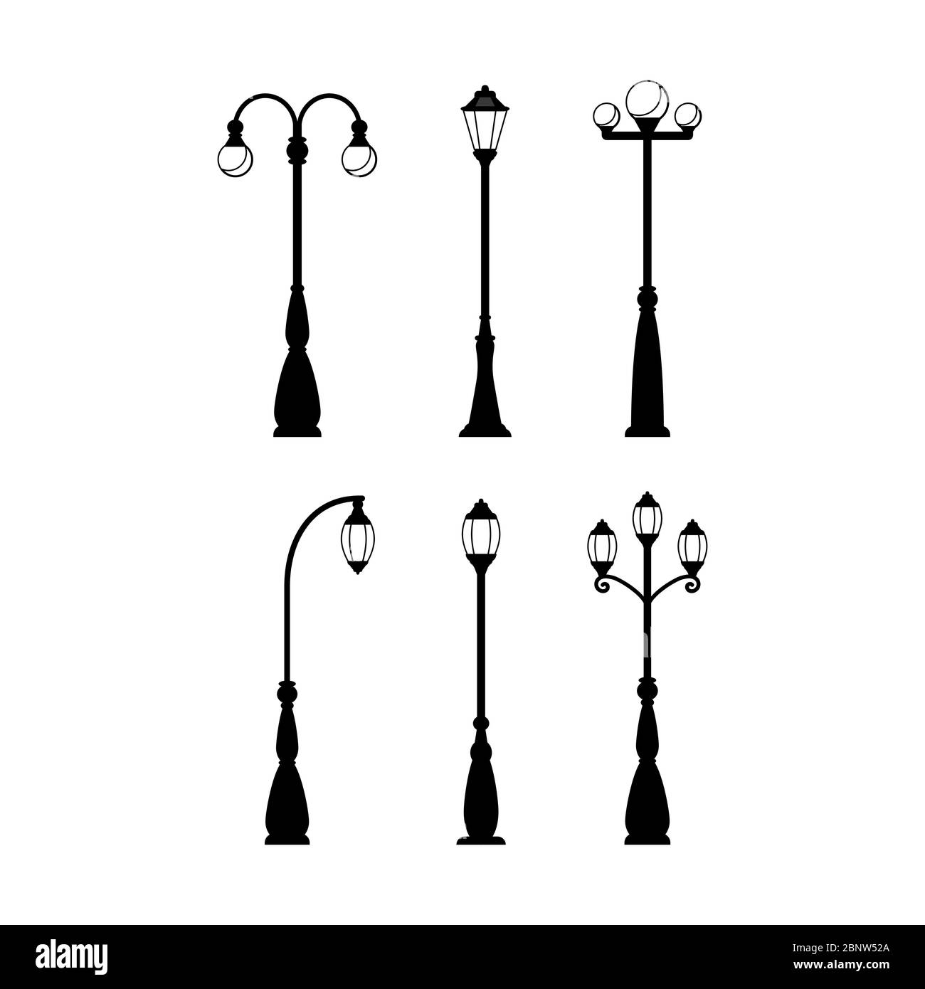 Vintage streetlights black silhouettes set. Vector retro street lamp lights isolated on white background Stock Vector