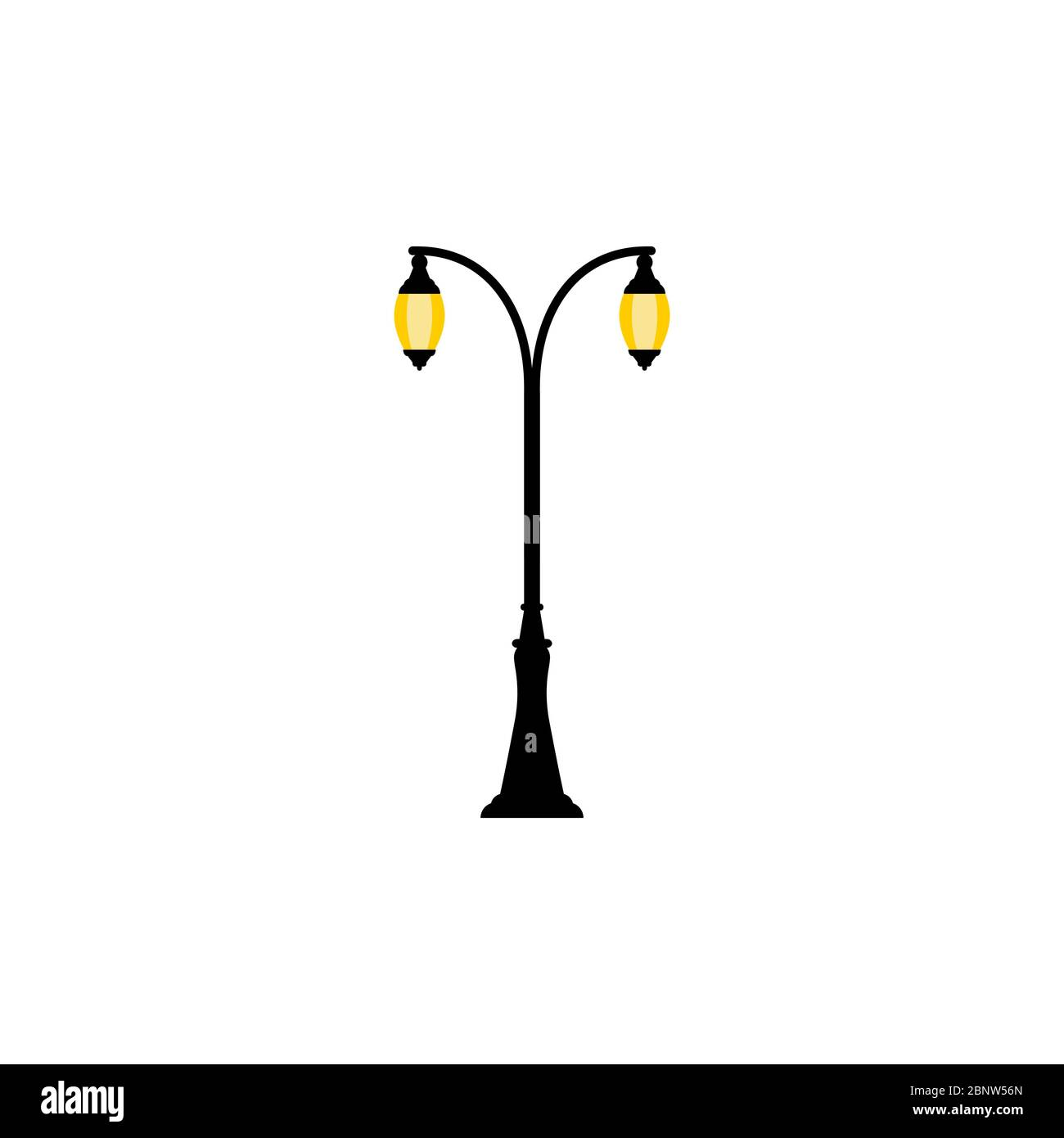 Vintage streetlight symbol. Vector retro object with two lamps isolated on white background Stock Vector