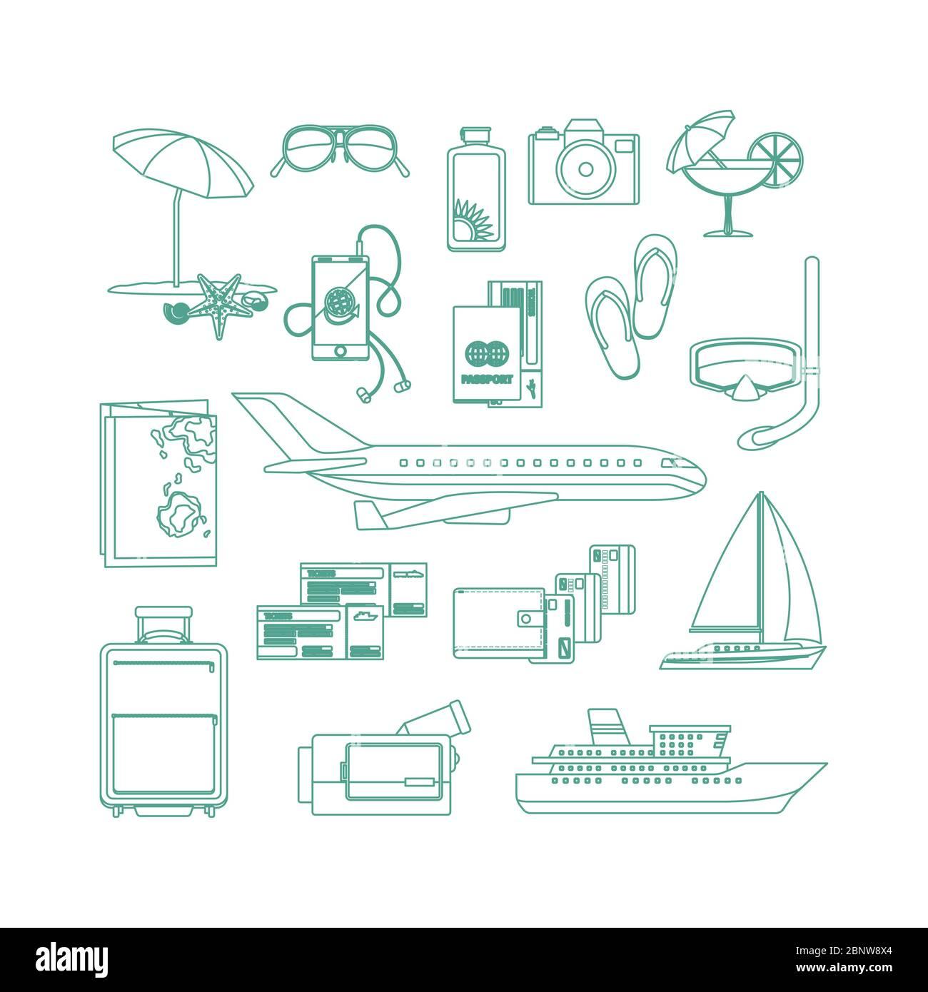 Tourism line art icon set on white backgrund. Vector illustration Stock Vector