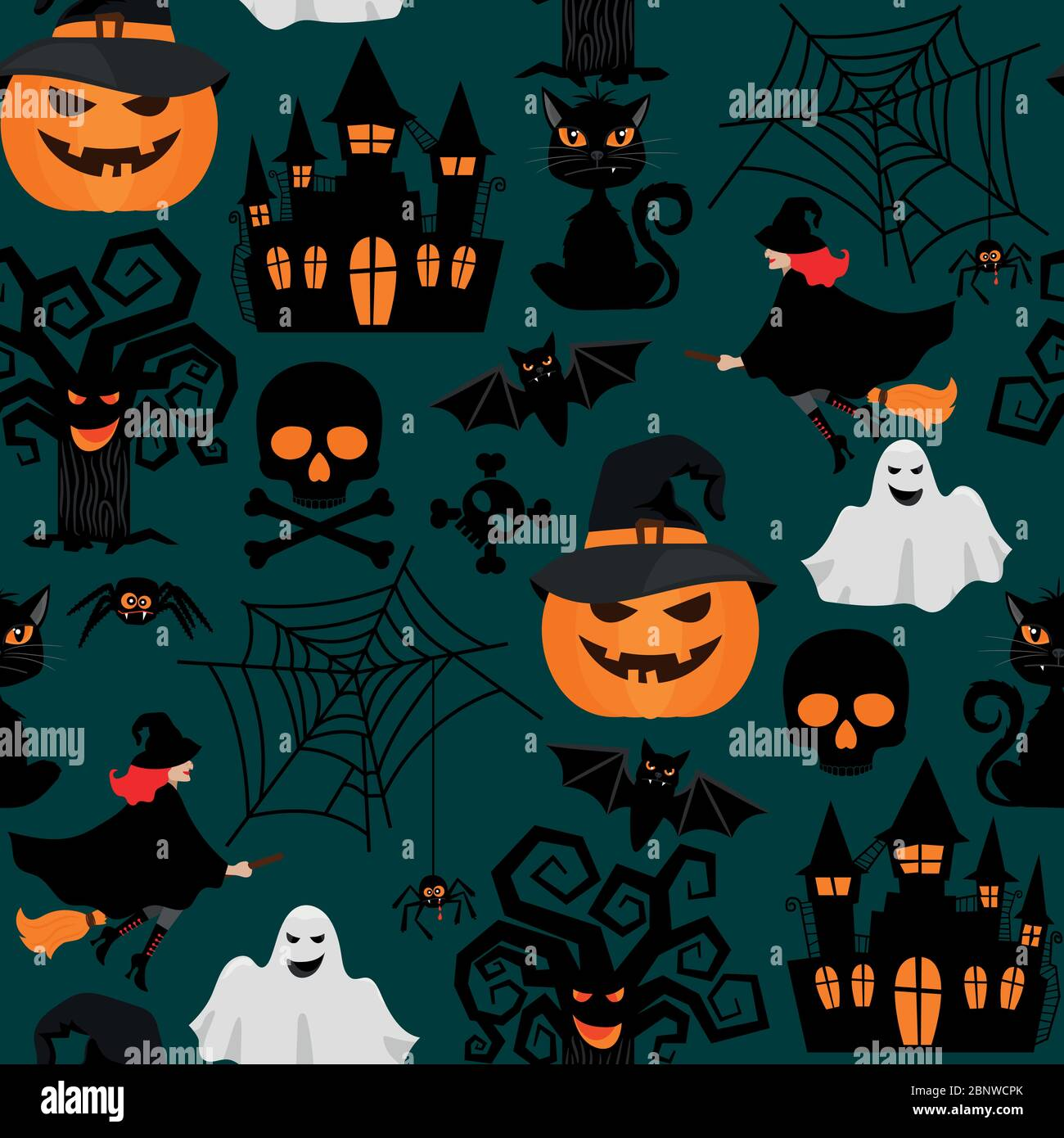 Halloween crafts wrapping seamless pattern Background for