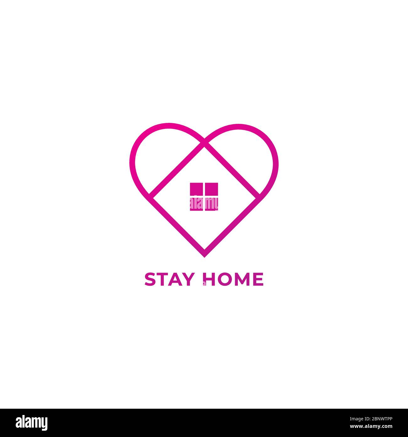 Stay Home Outline Logo Design Isolated on White Background. Home and Heart illustrated the protection and love. Stop spread of coronavirus. Stock Vector