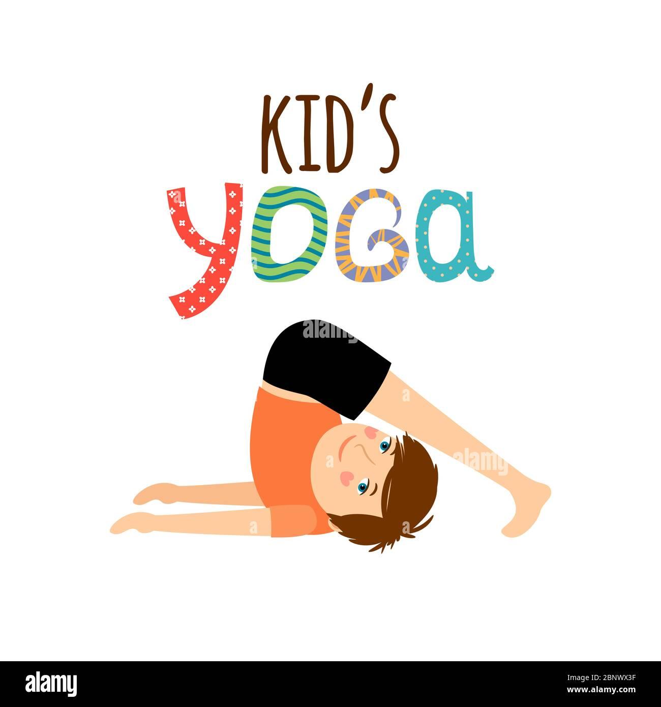 Yoga Kids Cartoon Logo Design With Boy Vector Illustration Stock Vector Image Art Alamy