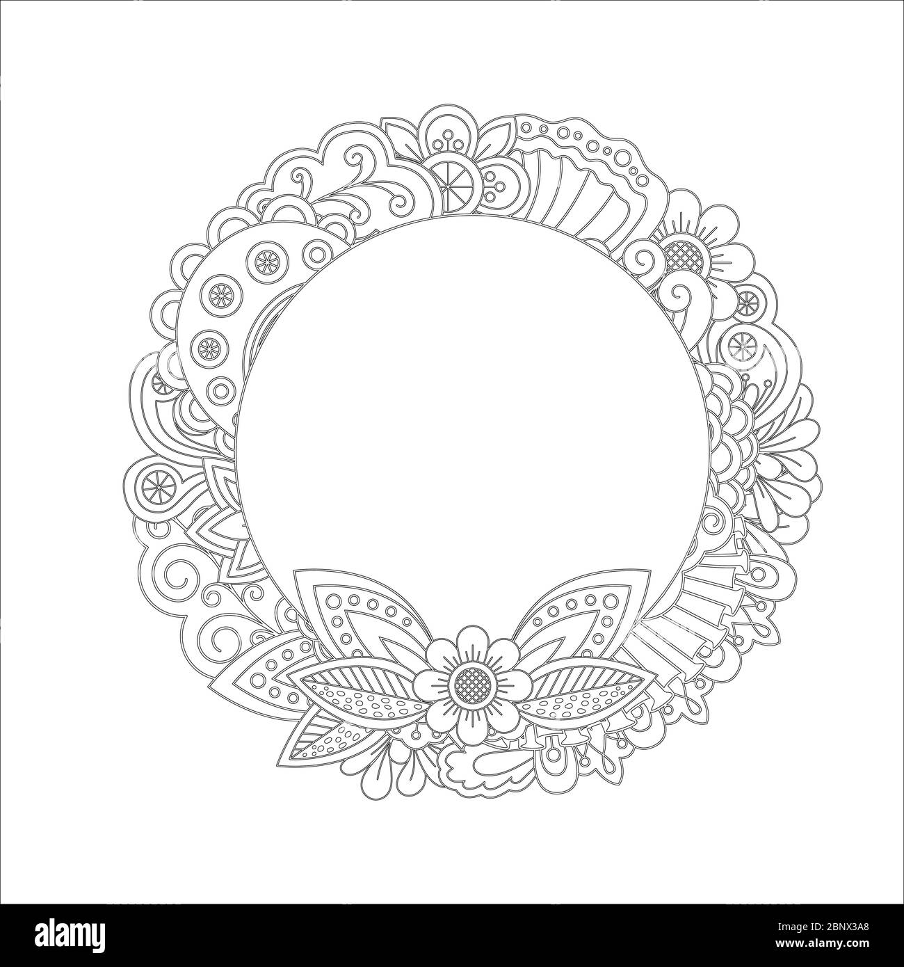 - Floral Wreath Coloring Page Stock Photos & Floral Wreath Coloring