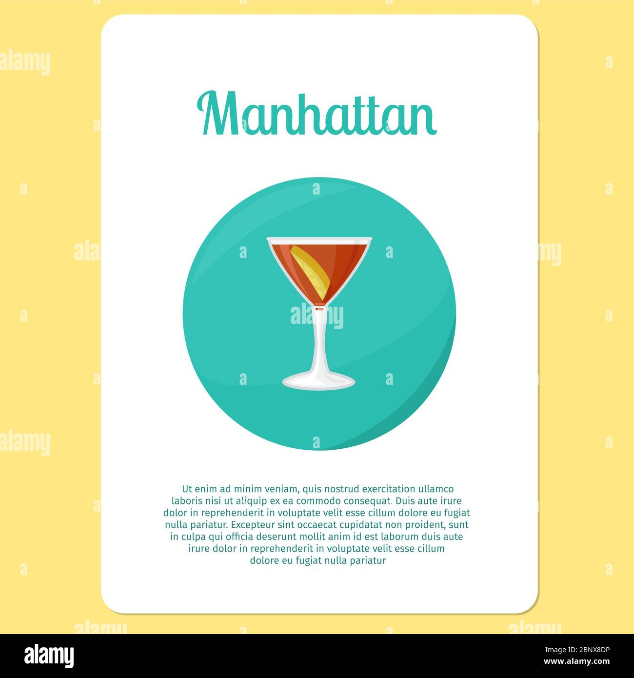 Manhattan Cocktail Menu Item Or Sticker Party Drink In Circle Icon Vector Illustration Stock Vector Image Art Alamy