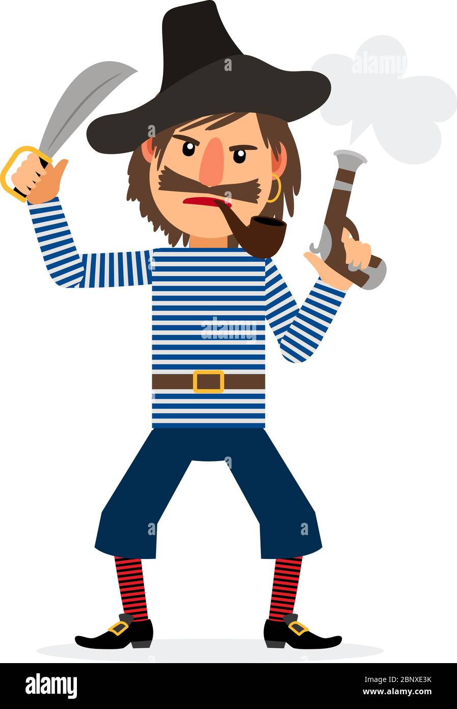 Blackbeard Pirate-cartoon-character-smoking-pipe-and-holding-sword-and-pistol-vector-icon-on-white-background-2BNXE3K
