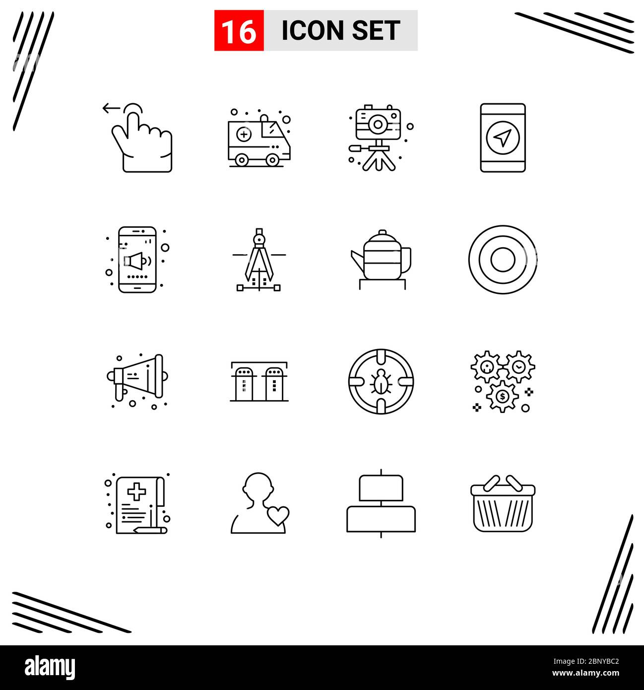 User Interface Pack of 16 Basic Outlines of compass, sound, hobbies, mobile, gps Editable Vector Design Elements Stock Vector