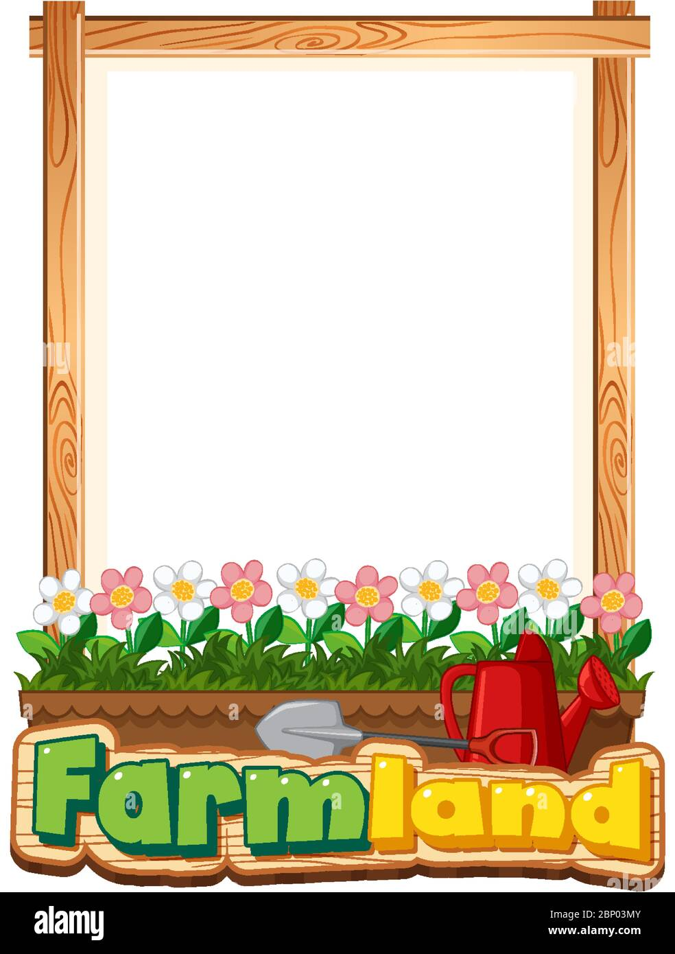 Border template design with beautiful flowers in garden