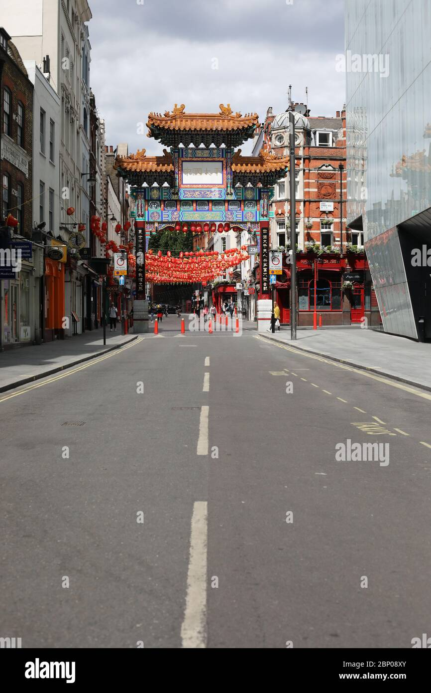 London, UK. 16th May, 2020. Day Fifty Four of Lockdown, in London. Chinatown with very few people around at lunchtime. This is the first weekend of a slight relaxing of lockdown in England as the message from the government is now 'stay alert' instead of 'stay at home'. Now you are able to go out more, play golf, go fishing, and visit garden centres, but social distancing measures should still be maintained. The country has been on lockdown due to the COVID-19 Coronavirus pandemic. COVID-19 Coronavirus lockdown, Peterborough, UK, on May 16, 2020 Credit: Paul Marriott/Alamy Live News Stock Photo