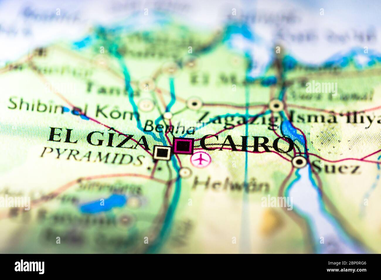 Picture of: Shallow Depth Of Field Focus On Geographical Map Location Of Cairo City In Egypt Arab Africa Continent On Atlas Stock Photo Alamy